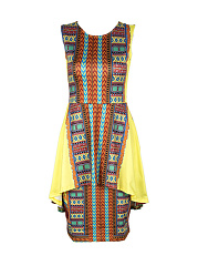Tribal Printed Round Neck Double Layer Bodycon Dress