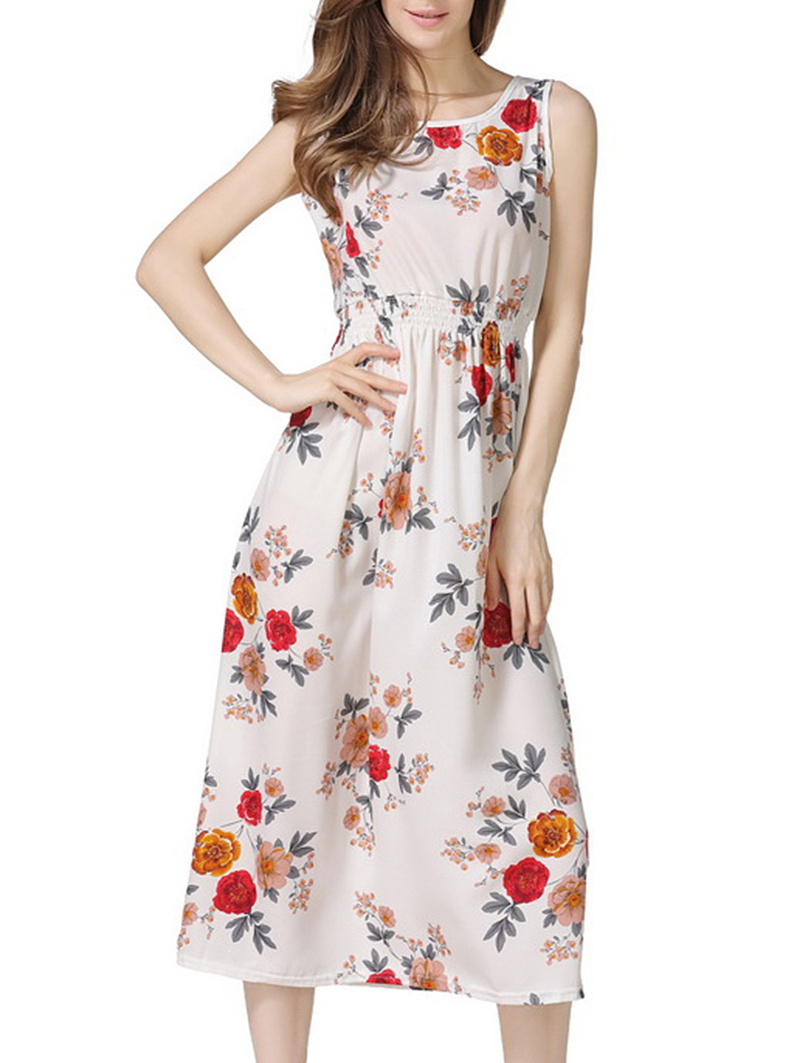 Elastic Waist  Floral Printed Round Neck  Maxi Dress