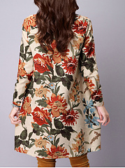 Printed Round Neck  Shift Dress