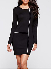 Round Neck Contrast Piping Bodycon Dress