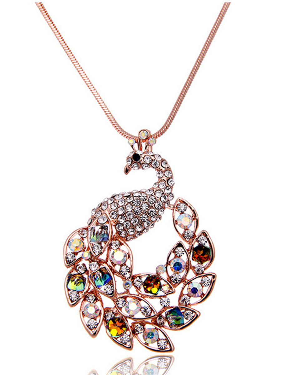 Crystal Peacock Shape Long Necklace