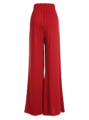 Plain High Slit Wide-Leg Casual Pants