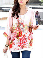 Floral-Printed-See-Through-Chiffon-Batwing-Sleeve-Tunic