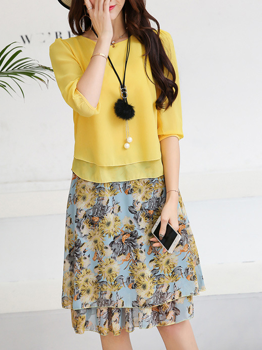 Round Neck Blouse And Floral Printed Flared Skirt