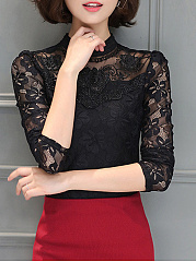 Band Collar Lace See-Through Plain Long Sleeve T-Shirt