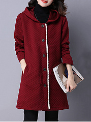 Hooded Patch Pocket Single Breasted Longline Coat
