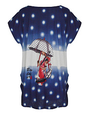 Cartoon Polka Dot Printed Plus Size T-Shirt