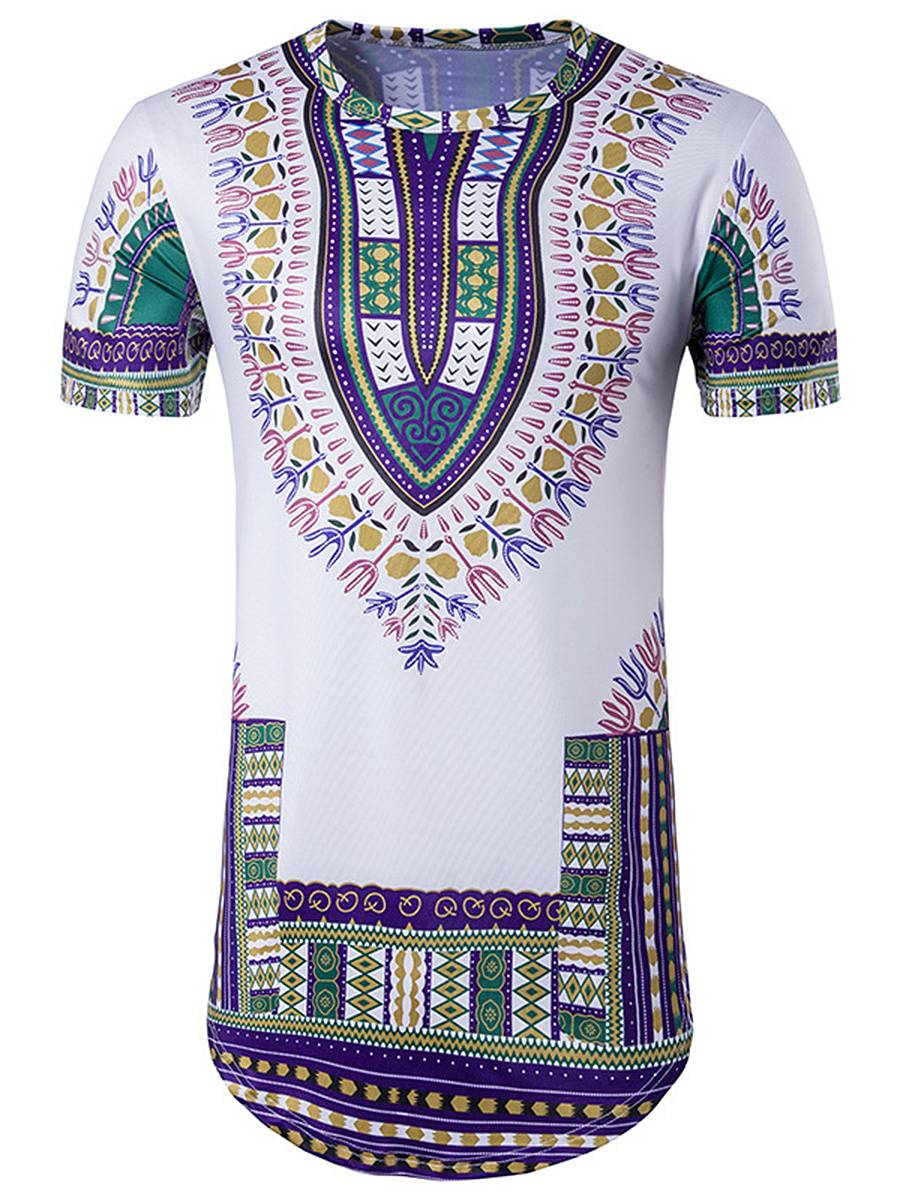 Round Neck  Tribal Printed  Short Sleeve Short Sleeves T-Shirts