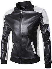 Men Band Collar Color Block PU Leather Jacket