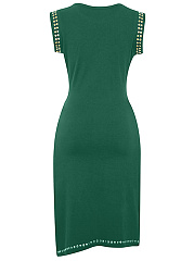 Round Neck Rivet Plain Slit Midi Bodycon Dress