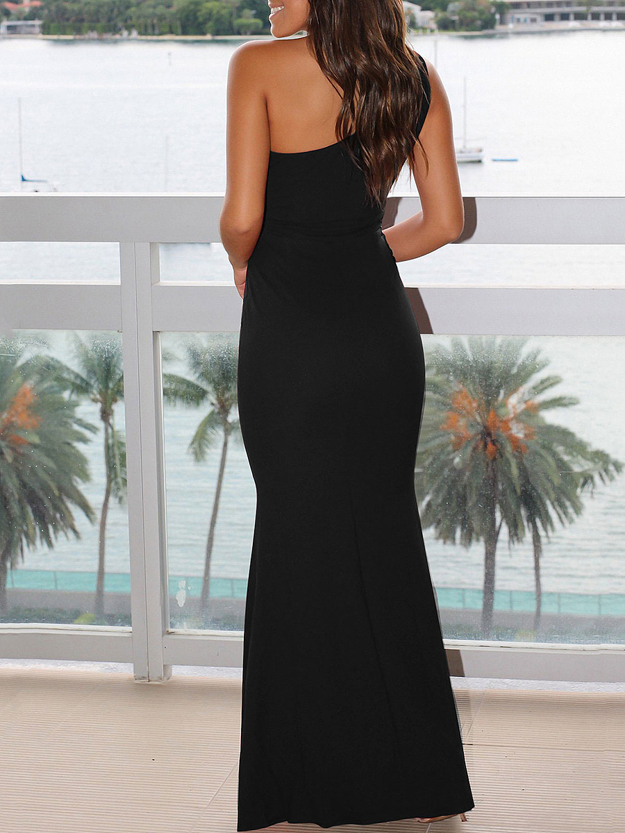 One Shoulder Decorative Lace Plain Mermaid Evening Dress