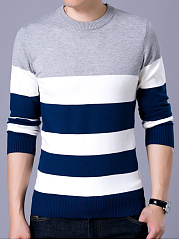 Crew Neck Color Block Striped Men Sweater