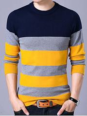 Crew-Neck-Color-Block-Striped-Men-Sweater