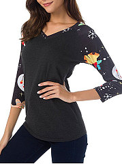 V-Neck  Patchwork  Printed Long Sleeve T-Shirts