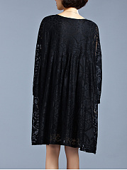 Oversized Split Neck Plain Lace Hollow Out Shift Dress
