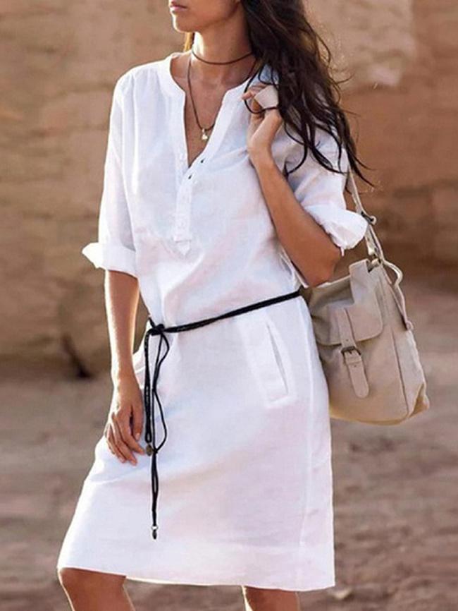 Image of Fashionmia Band Collar Plain Casual Fashion Shift Dress