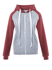Hooded  Zips  Colouring  Long Sleeve Hoodies