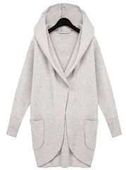 Hooded Patch Pocket Plain Coat
