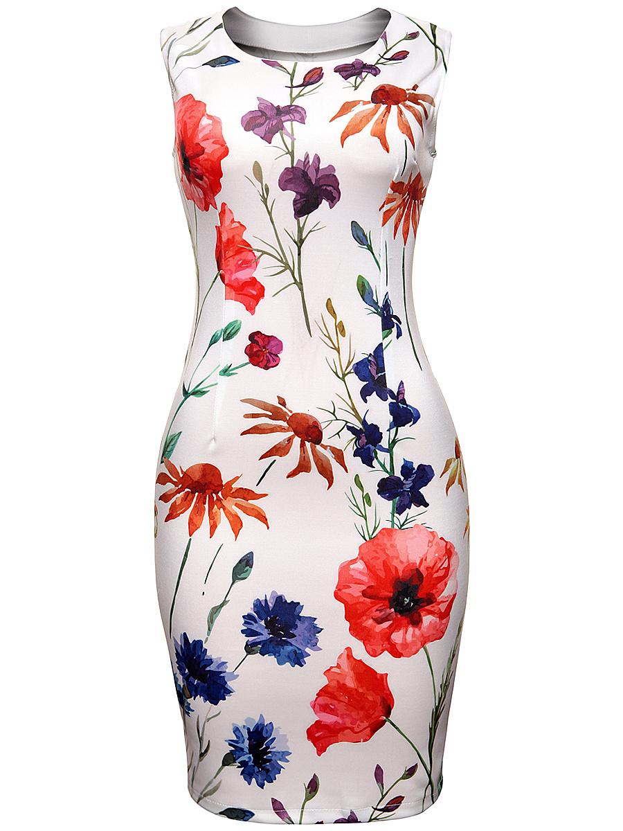 Round Neck Slit Floral Printed Chic Bodycon Dress