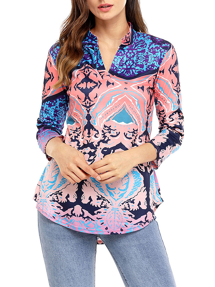 V-Neck  Curved Hem  Printed Long Sleeve T-Shirt