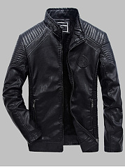 Band-Collar-PU-Leather-Quilted-Fleece-Lined-Plain-Men-Jacket
