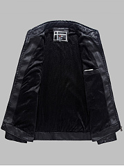Band Collar PU Leather Quilted Fleece Lined Plain Men Jacket
