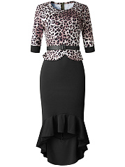 Round Neck  Leopard Bodycon Dress