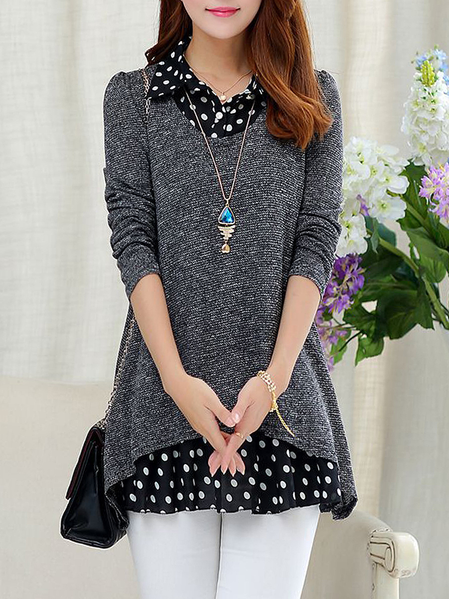 Polo Collar  Patchwork  Polka Dot  Long Sleeve Blouses