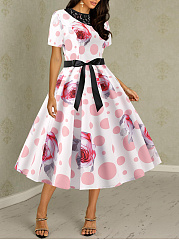 Round Neck  Bowknot  Belt  Lace Polka Dot Printed Skater Dress