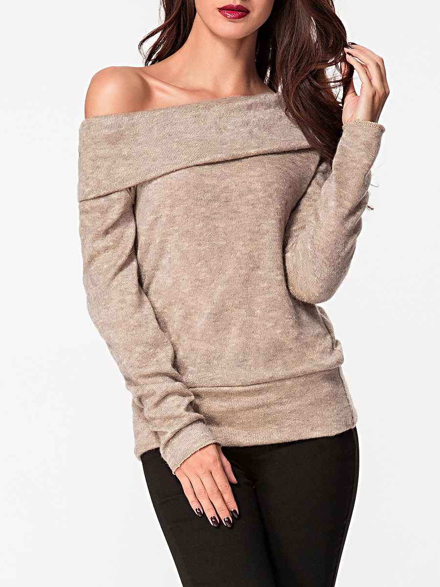 Off Shoulder Plain Two Way Sweater