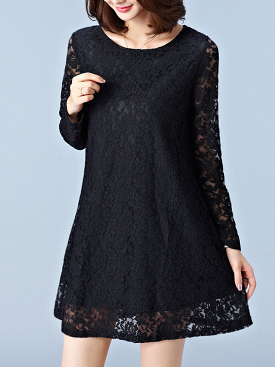 Round Neck Lace Solid Hollow Out Shift Dress