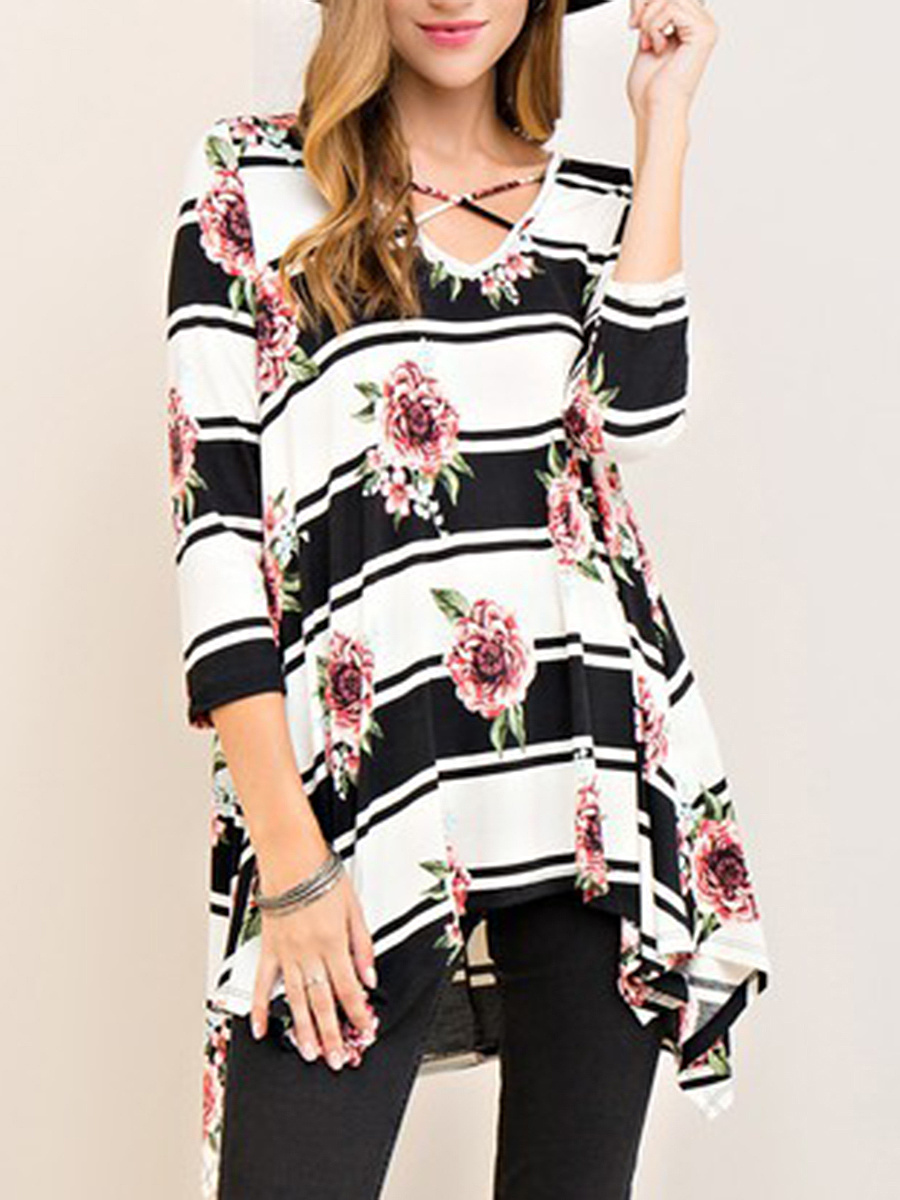 V-Neck  Lace-Up  Printed Long Sleeve T-Shirt