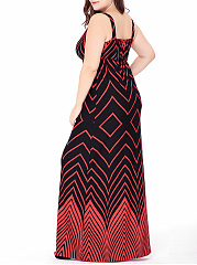 Sexy Deep V-Neck Zigzag Striped Plus Size Maxi Dress