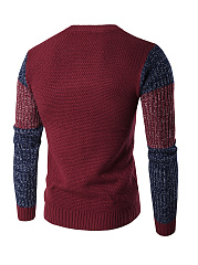 Color Block Round Neck Men'S Sweater