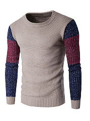 Color Block Round Neck MenS Sweater
