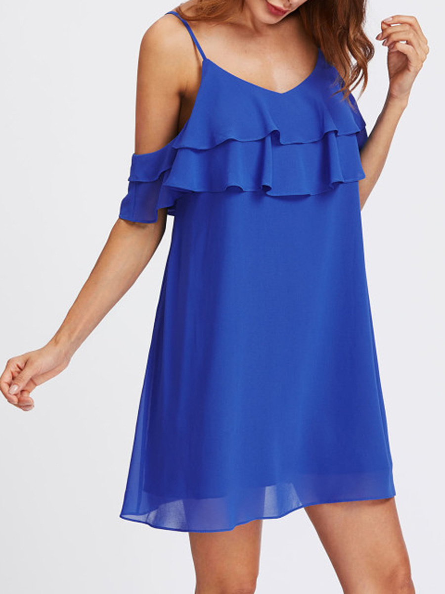Spaghetti Strap  Cascading Ruffles  Plain Shift Dress