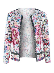 Collarless-Floral-Long-Sleeve-Jackets