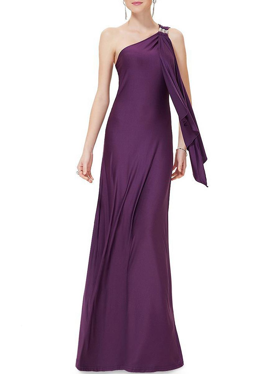 One Shoulder Plain Evening Dress