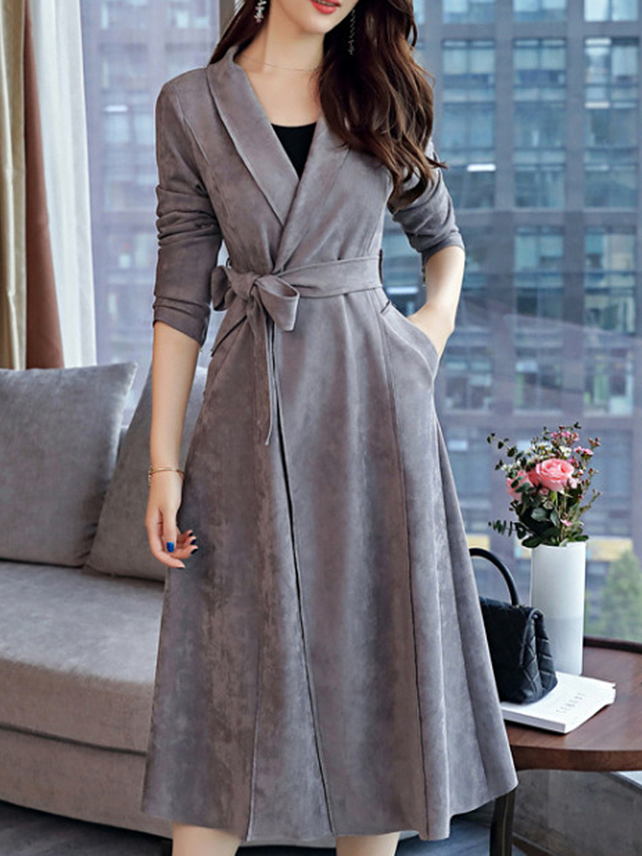 Fold-Over Collar  Belt  Plain Trench Coat