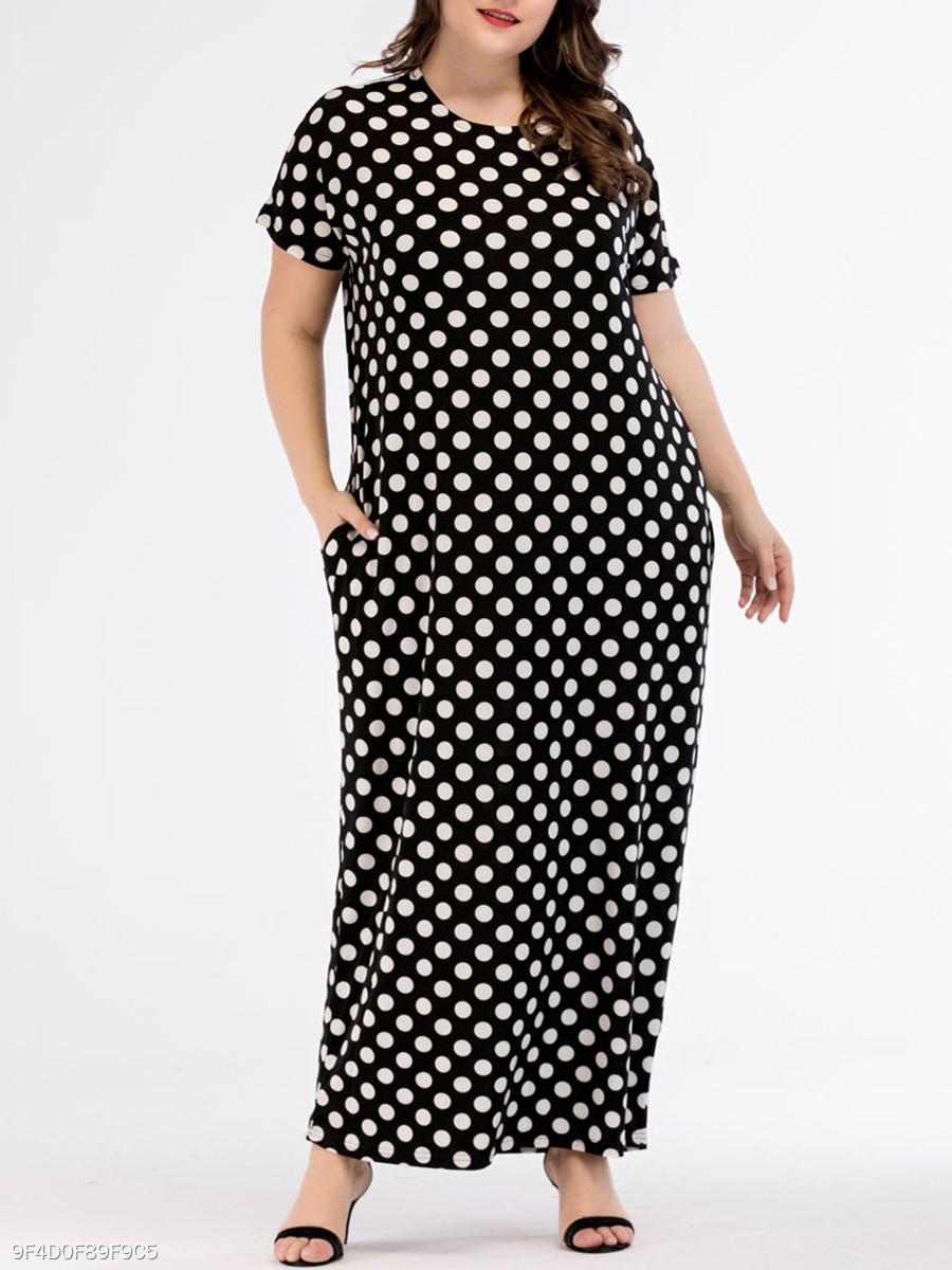 57d88dd7e9791 Round Neck Polka Dot Plus Size Midi   Maxi Dresses - fashionMia.com