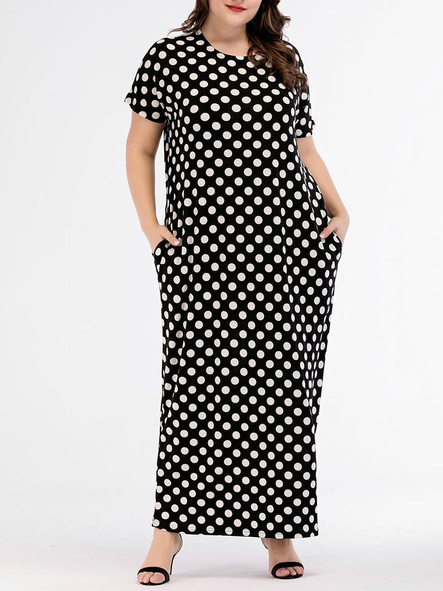 Round Neck  Polka Dot Plus Size Midi & Maxi Dresses