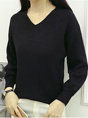 V Neck  Loose Fitting  Plain  Lantern Sleeve Knit Pullover