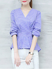 Polyester  V-Neck  Plaid  Half Sleeve Blouse