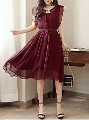 Round Neck Hollow Out Plain Chiffon Skater Dress