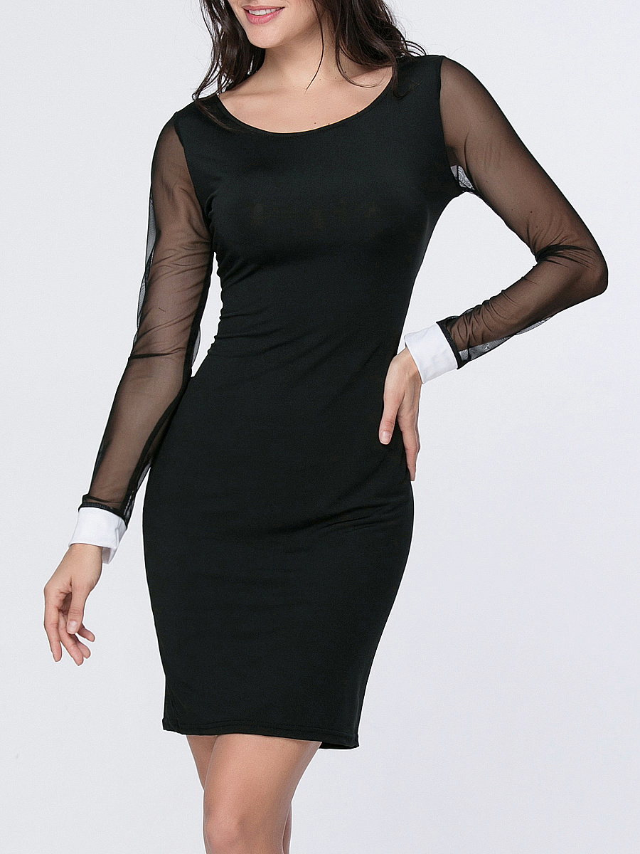 Patchwork See-Through Round Neck Bodycon Dress