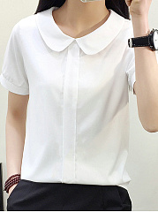 Summer  Polyester  Women  Doll Collar  Plain  Short Sleeve Blouses