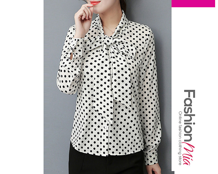Autumn Spring  Polyester  Women  Tie Collar  Bowknot  Polka Dot  Long Sleeve Blouses