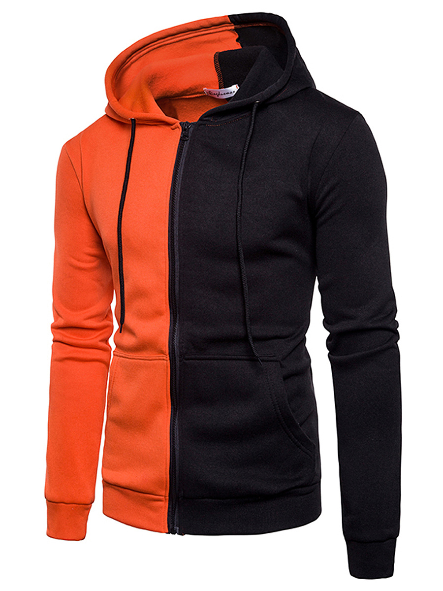 Men Color Block Patch Pocket Hoodie