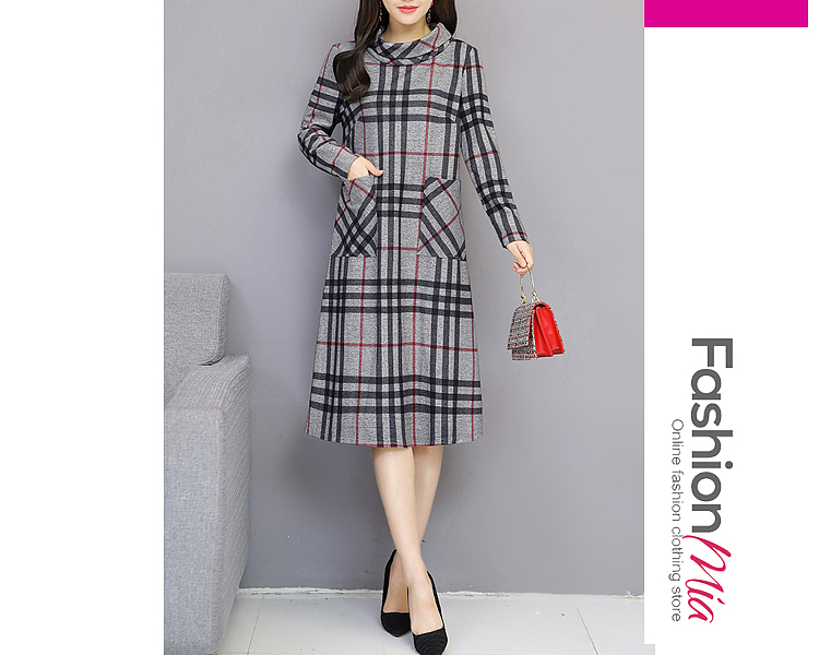 style:fashion, material:polyester, collar&neckline:high neck, sleeve:long sleeve, embellishment:patch pocket, pattern_type:printed, length:midi, how_to_wash:cold gentle machine wash, supplementary_matters:all dimensions are measured manually with a deviation of 2 to 4cm., occasion:casual,daily, season:autumn,winter, dress_silhouette:shift, package_included:dress*1, shouldersleeve lengthbustwaist