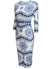 Vintage Blue And White Porcelain Printed Bodycon Dress